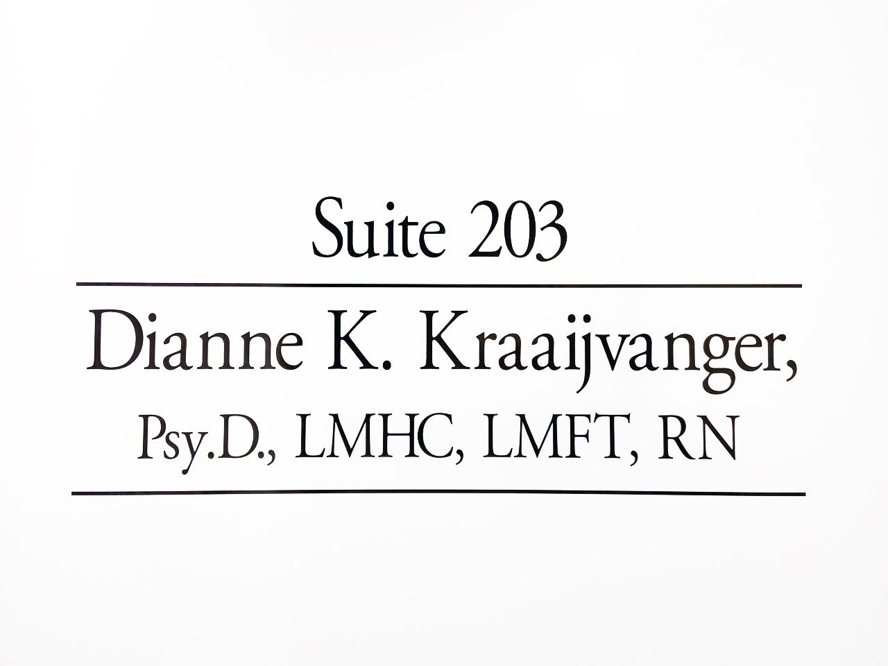 Office door of Dianne Kraaijvanger, Psy.D.   Psychologist and Therapist   Wellesley MA